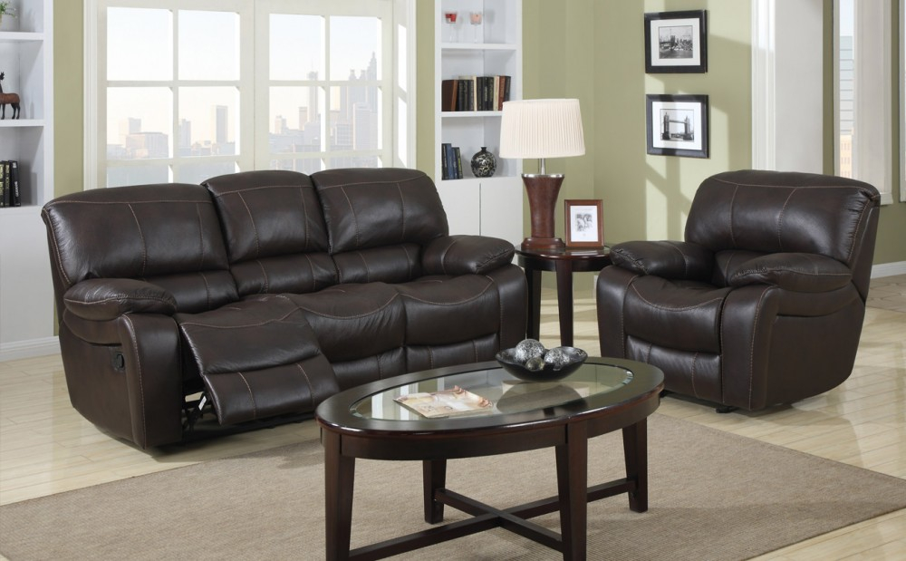 Titus 1150 Manual Reclining Loveseat (Air Leather)-0