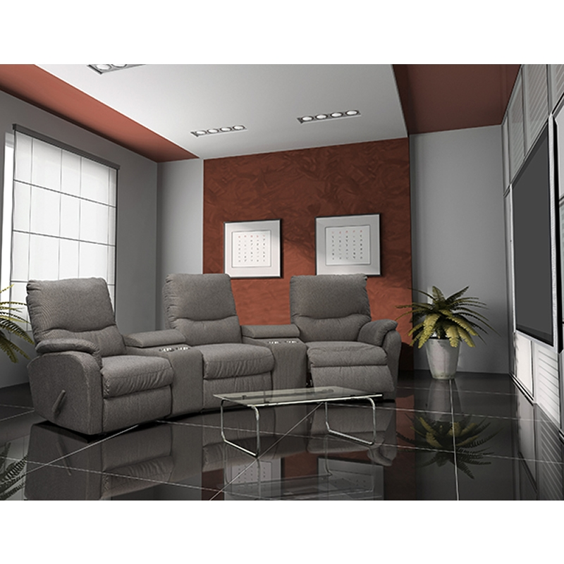 Elran Eva Leather 3-Seat Home Theatre Seating with Wall Recline -0
